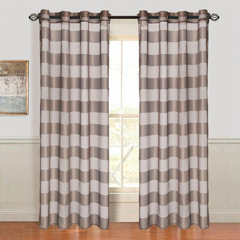Lavish Home Sofia Grommet Curtain Panel - Coffee