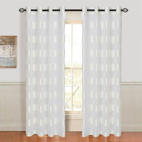 Lavish Home Sofia Grommet Curtain Panel - White