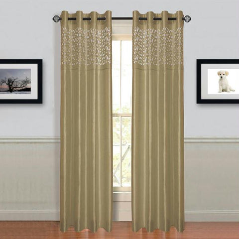 "Lavish Home Sonya Grommet Curtain Panel 108"" Taupe"