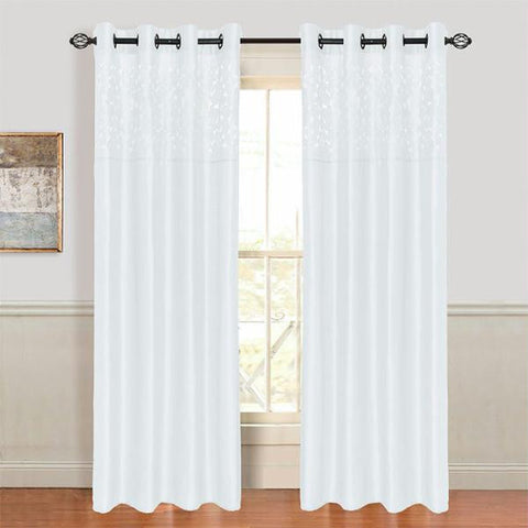 "Lavish Home Sonya Grommet Curtain Panel 108"" White"