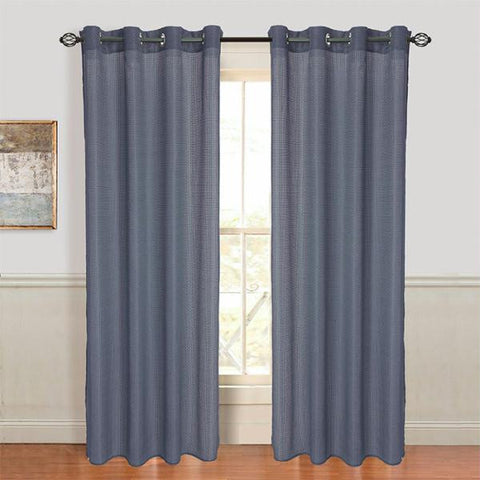 Set of 2 Lavish Home Olivia Jacquard Grommet Curtain Panel - Blue