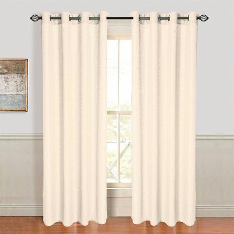 Set of 2 Lavish Home Olivia Jacquard Grommet Curtain Panel - Cream