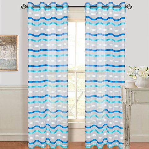 Lavish Home Sonya Grommet Curtain Panel - Iris