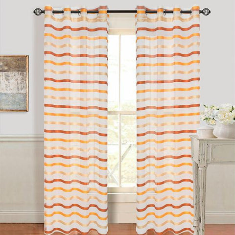 Set of 2 Lavish Home Sonya Grommet Curtain Panel - Orange