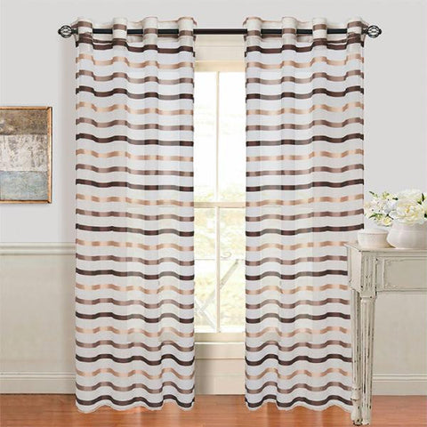Set of 2 Lavish Home Sonya Grommet Curtain Panel - Taupe