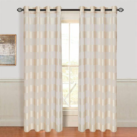 Set of 2 Lavish Home Sofia Grommet Curtain Panel - Cream