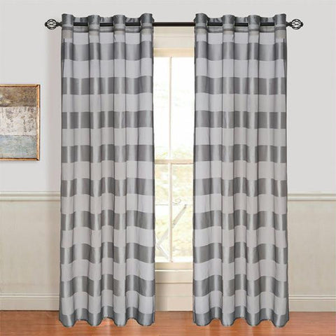 Set of 2 Lavish Home Sofia Grommet Curtain Panel - Grey