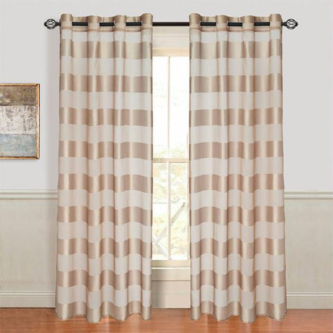 Lavish Home Sofia Grommet Curtain Panel - Taupe