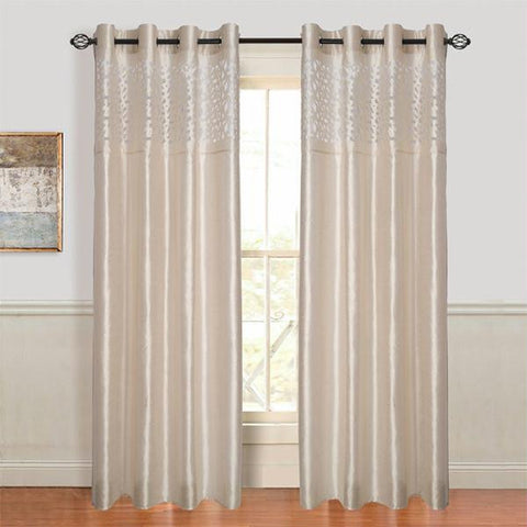 Lavish Home Karla Laser-Cut Grommet Curtain Panel - Beige