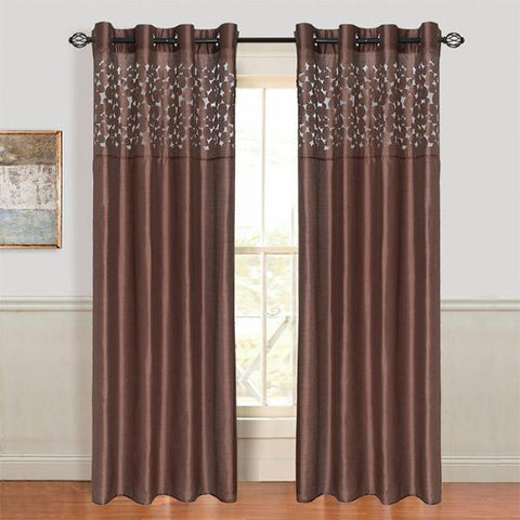 Lavish Home Karla Laser-Cut Grommet Curtain Panel - Chocolate