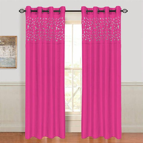 Lavish Home Karla Laser-Cut Grommet Curtain Panel - Fuschia
