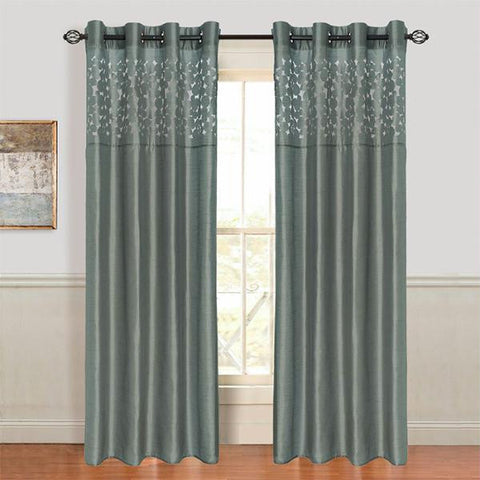Lavish Home Karla Laser-Cut Grommet Curtain Panel - Grey