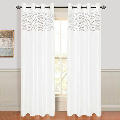 Lavish Home Karla Laser-Cut Grommet Curtain Panel - White