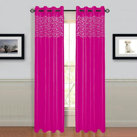 "Lavish Home Sonya Grommet Curtain Panel 84"" Fushia"