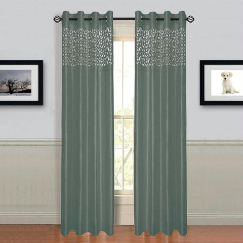 "Lavish Home Sonya Grommet Curtain Panel 84"" Grey"