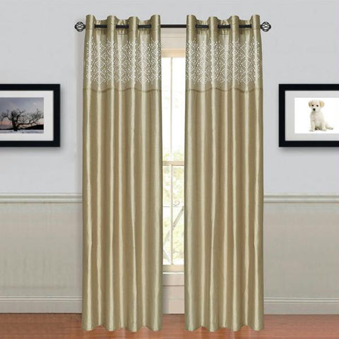 "Lavish Home Alla Grommet Curtain Panel 84"" Taupe"