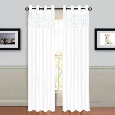 "Lavish Home Alla Grommet Curtain Panel 84"" White"
