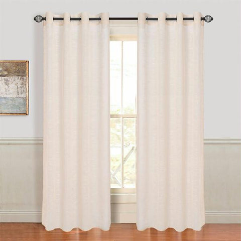 Set of 2 Lavish Home Mia Jacquard Grommet Curtain Panel - Beige