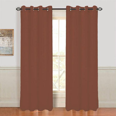 Set of 2 Lavish Home Mia Jacquard Grommet Curtain Panel - Brown
