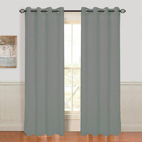 Set of 2 Lavish Home Mia Jacquard Grommet Curtain Panel - Dark Grey