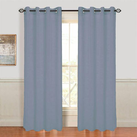 Set of 2 Lavish Home Mia Jacquard Grommet Curtain Panel - Grey