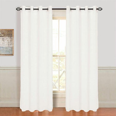 Set of 2 Lavish Home Mia Jacquard Grommet Curtain Panel - White
