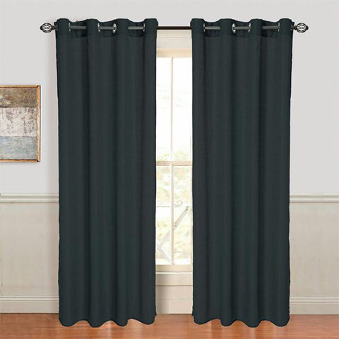 Lavish Home Olivia Jacquard Grommet Curtain Panel - Black