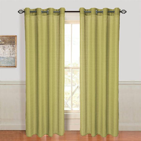 Set of 2 Lavish Home Olivia Jacquard Grommet Curtain Panel - Sage