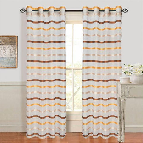 Lavish Home Arla Grommet Curtain Panel - Coffee-Yellow