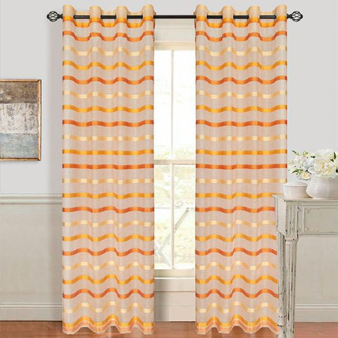 Set of 2 Lavish Home Arla Grommet Curtain Panel - Dark-Lite Orange