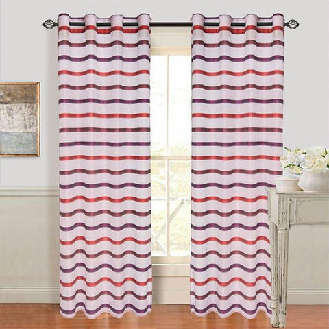 Lavish Home Arla Grommet Curtain Panel - Wine-Red