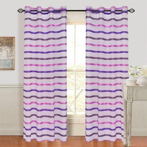 Set of 2 Lavish Home Arla Grommet Curtain Panel - Violet-White