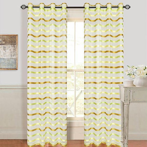 Set of 2 Lavish Home Sonya Grommet Curtain Panel - Green
