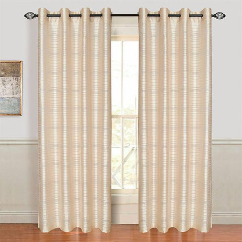 Lavish Home Maggie Grommet Curtain Panel - Beige