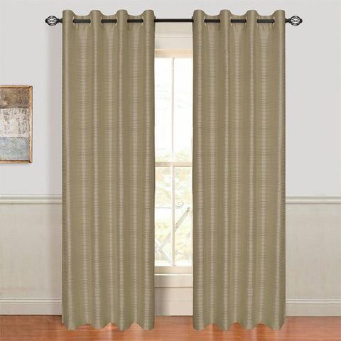 Lavish Home Maggie Grommet Curtain Panel - Taupe