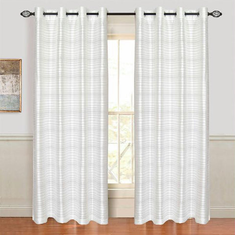 Set of 2 Lavish Home Maggie Grommet Curtain Panel - White