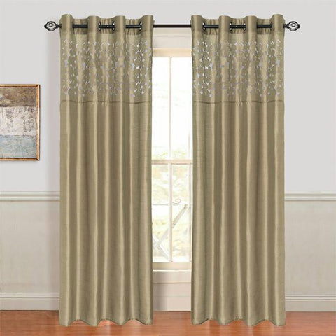 Lavish Home Karla Laser-Cut Grommet Curtain Panel - Taupe