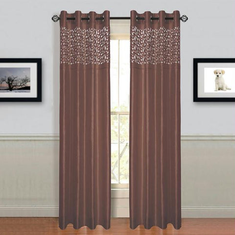 "Lavish Home Sonya Grommet Curtain Panel 95"" Choc"