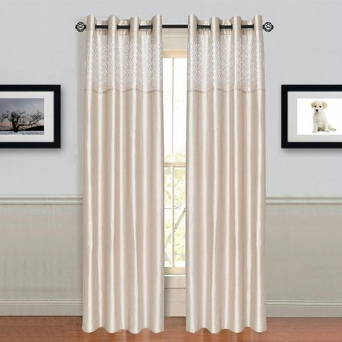 "Lavish Home Alla Grommet Curtain Panel 95"" Beige"