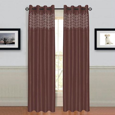 "Lavish Home Alla Grommet Curtain Panel 95"" - Chocolate"