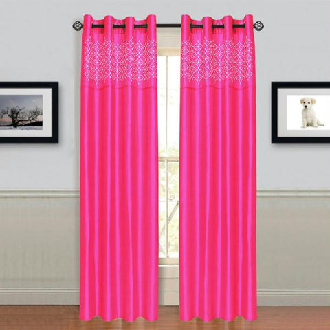 "Lavish Home Alla Grommet Curtain Panel 95"" Fushia"