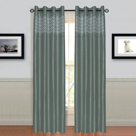 "Lavish Home Alla Grommet Curtain Panel 95"" Grey"
