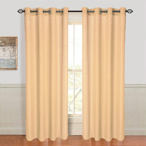 Set of 2 Lavish Home Olivia Jacquard Grommet Curtain Panel - Gold
