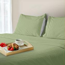 Lavish Home 300 Thread Count Cotton Sateen Sheet Set - King - Sage