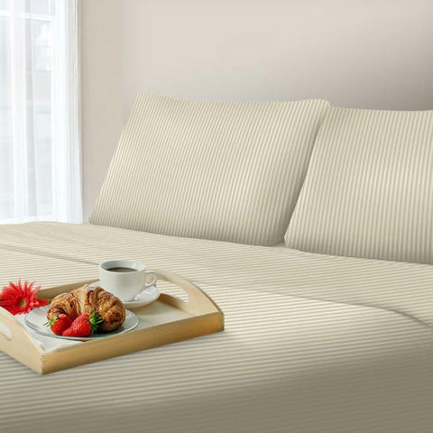 Lavish Home 300 Thread Count Cotton Sateen Sheet Set - Queen - Bone