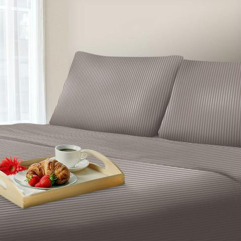 Lavish Home 300 Thread Count Cotton Sateen Sheet Set - Queen - Gray