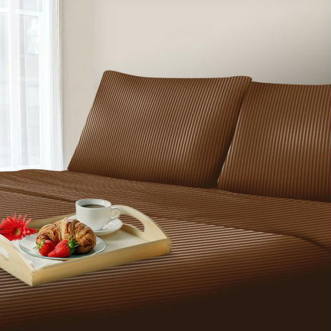 Lavish Home 300 Thread Count Cotton Sateen Sheet Set - TXL - Brown