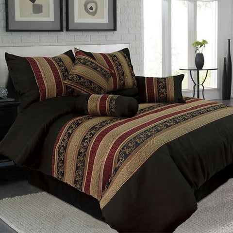 Lavish Home 7 Piece King Lily Jacquard Comforter Set