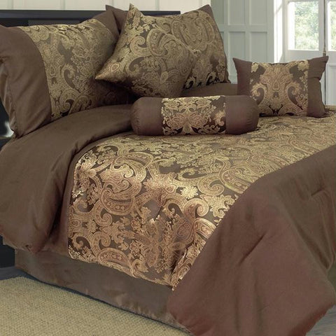 Lavish Home 7 Piece Queen Bailey Jacquard Comforter Set
