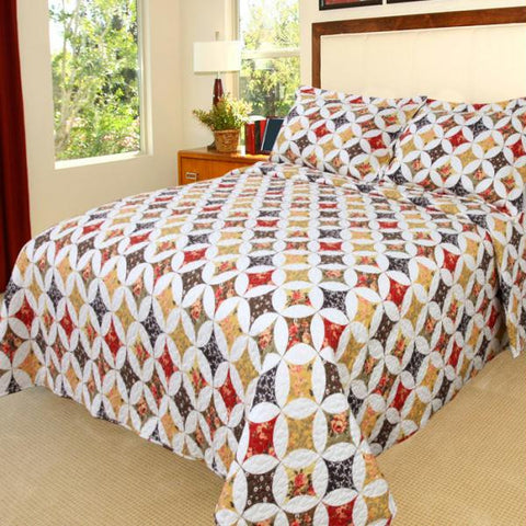 Lavish Home Cassandra Quilt 3 Piece Set - King